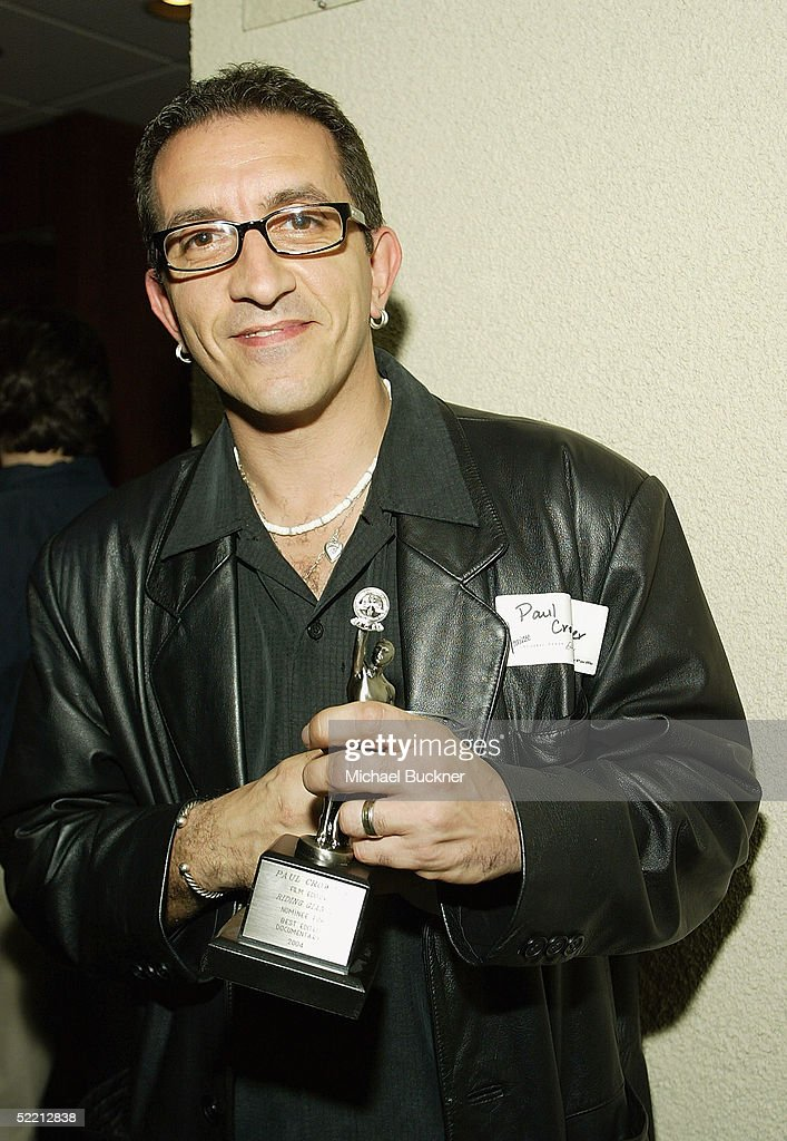 Editor Paul Crowder holds the nomination for Best Edited Documentary for 'Riding Giants' at the nominee reception for the American Cinema Editors Eddie Awards on February 17, 2005 at the Kodak Atrium in Hollywood, California.