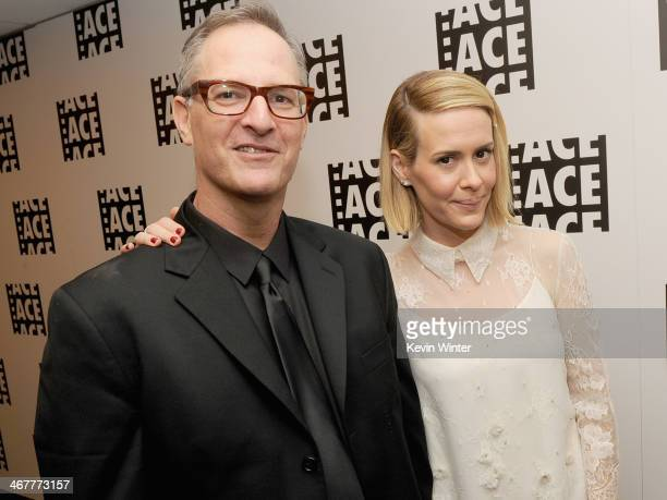 Editor Stewart Schill and actress Sarah Paulson pose in the green room at the 64th Annual ACE Eddie Awards at the Beverly Hilton Hotel on February 7...
