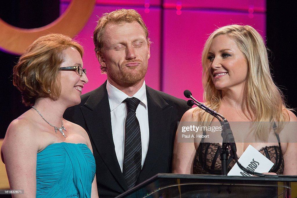 Editor Susan Vaill, actor <a gi-track='captionPersonalityLinkClicked' href=/galleries/search?phrase=Kevin+McKidd&family=editorial&specificpeople=808099 ng-click='$event.stopPropagation()'>Kevin McKidd</a>, and actress <a gi-track='captionPersonalityLinkClicked' href=/galleries/search?phrase=Jessica+Capshaw&family=editorial&specificpeople=207034 ng-click='$event.stopPropagation()'>Jessica Capshaw</a> present the nominees for Best Edited One-Hour Series for Commercia Television during the 63rd Annual ACE Eddie Awards held at The Beverly Hilton Hotel on February 16, 2013 in Beverly Hills, California.