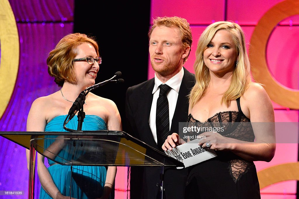 Editor Susan Vaill, actor Kevin McKidd, and actress Jessica Capshaw present the nominees for Best Edited One-Hour Series for Commercial Television during the 63rd Annual ACE Eddie Awards at the Beverly Hilton Hotel on February 16, 2013 in Beverly Hills, California.