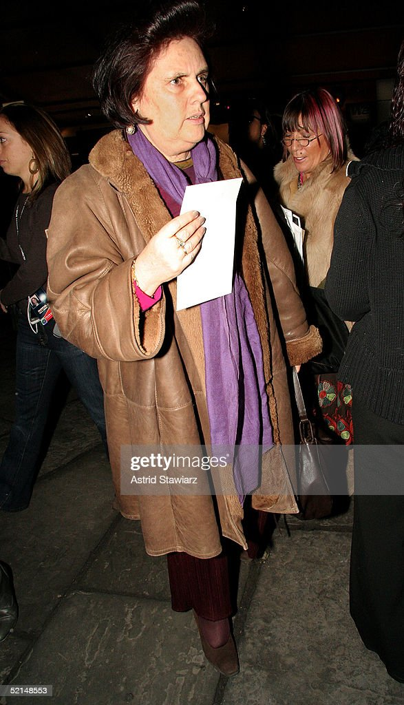 Editor Suzy Menkes is seen in the lobby of the main tent during Olympus Fashion Week Fall 2005 at Bryant Park February 6, 2005 in New York City.
