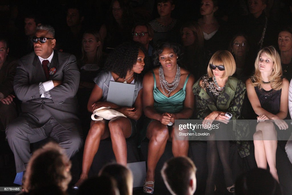 Editor-at-large for Vogue North America Andre Leon Talley, Tennis players Venus Williams and Serena Williams and Vogue Editor in Chief Anna Wintour attend the Zac Posen Spring 2009 fashion show during Mercedes-Benz Fashion Week at The Tent, Bryant Park on September 11, 2008 in New York City.