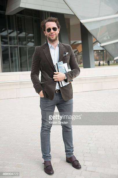 EditoratLarge of Harperâs Bazaar Derek Blasberg wears Ray Ban sunglasses on day 9 of Paris Collections Women on March 11 2015 in Paris France