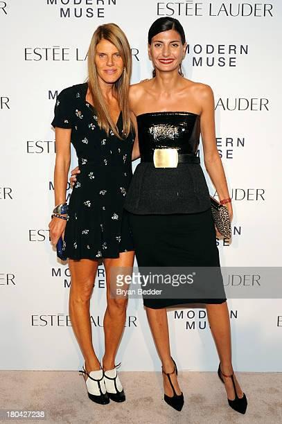 Editoratlarge of Vogue Nippon Anna Dello Russo and Editor of L'Uomo Vogue Giovanna Battaglia attend the Estee Lauder 'Modern Muse' Fragrance Launch...