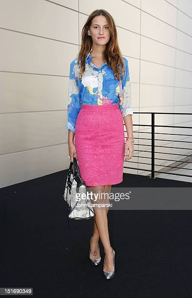 Editorial associate Kamila Pagowski is seen wearing a skirt from Emanuel Ungaro bag from Balanciaga shoes from Barneys Coop and a vintage top on the...