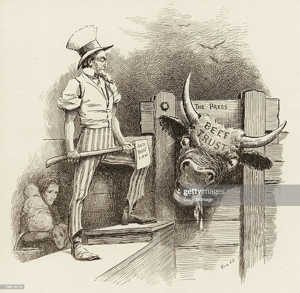 Editorial cartoon depicts 'Uncle Sam' an ax labeled 'AntiTrust Law' in his hands as he stands next to a large steer labeled 'Beef Trust' 1902