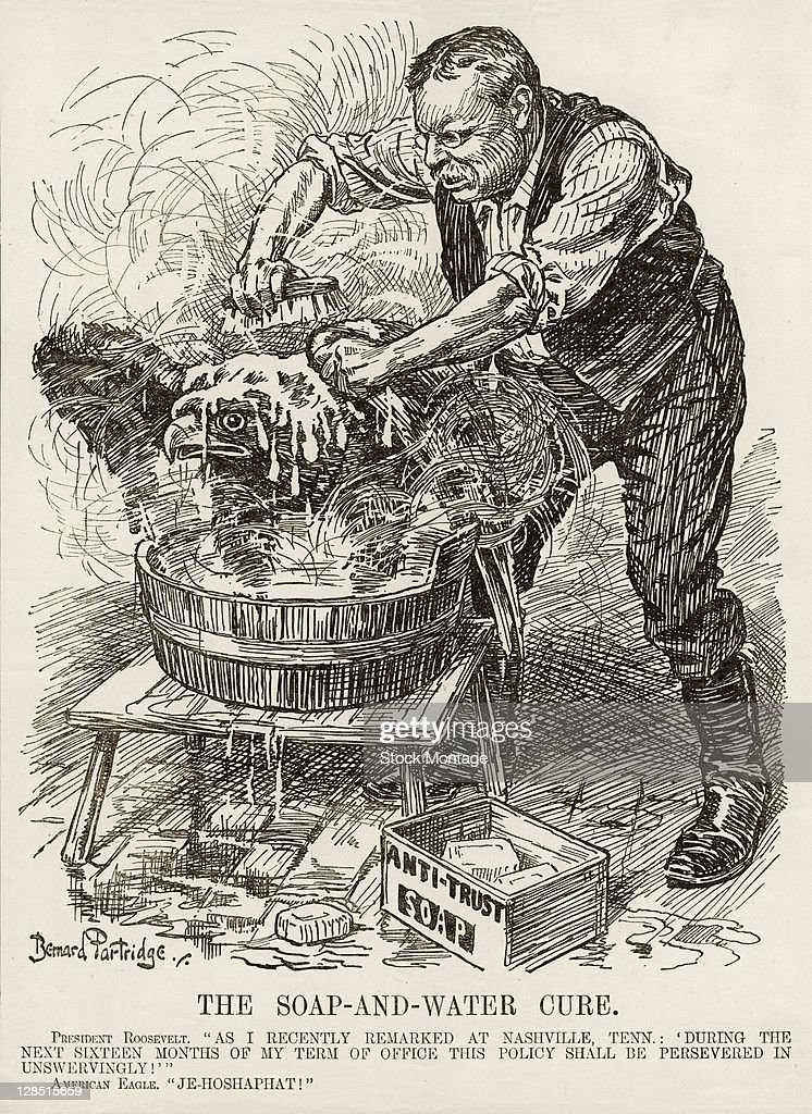 Editorial cartoon entitled 'The SoapandWater Cure' depicts American President Theodore Roosevelt as he uses 'AntiTrust' soap to scrap clean a eagle...