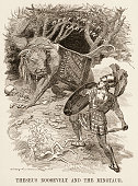 Editorial cartoon entitled 'Theseus Roosevelt and the Minotaur' features an illustration of American President Theodore Roosevelt depicted as an...