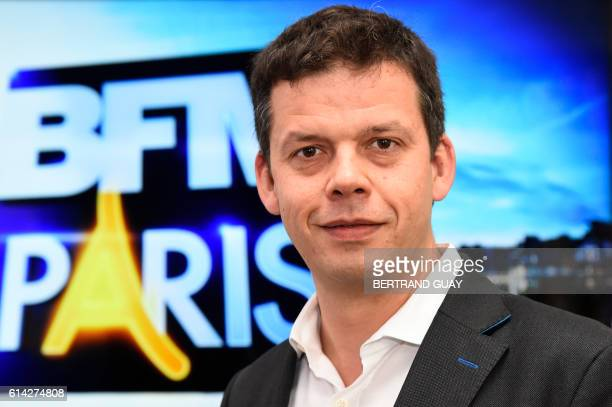 Editorial director of BFM Paris Alexis Delahousse poses for a picture during a press conference on the launch of the news channel BFM Paris on...