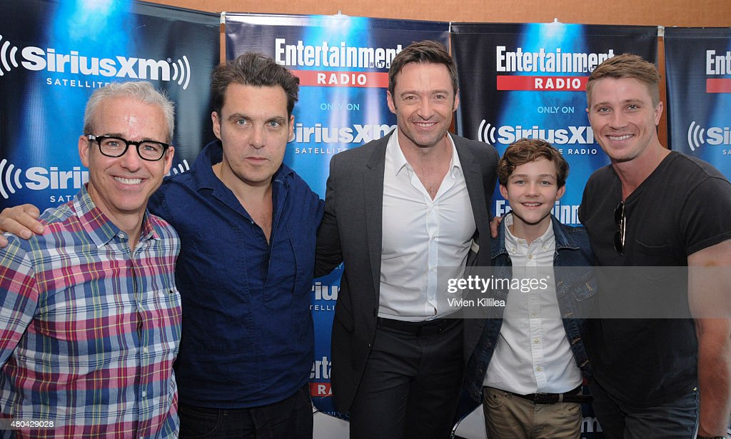 Editorial director of EW Jess Cagle director Joe Wright and actors Hugh Jackman Levi Miller and Garrett Hedlund attend SiriusXM's Entertainment...