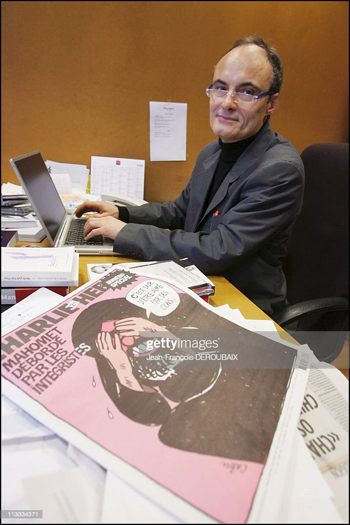 Editorial Meeting At The French Satirical Weekly Charlie Hebdo - On February 9Th, 2006 - In Paris, France - Here, Editor-In-Chief <a gi-track='captionPersonalityLinkClicked' href=/galleries/search?phrase=Philippe+Val&family=editorial&specificpeople=831271 ng-click='$event.stopPropagation()'>Philippe Val</a>.