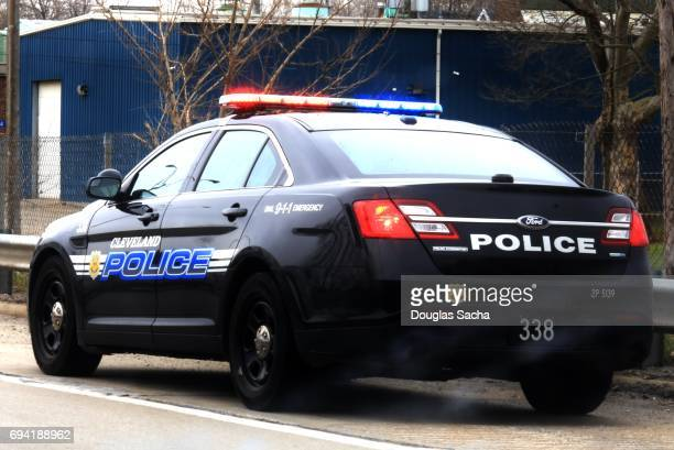 Editorial use - Clese up of a Police car with flashing lights