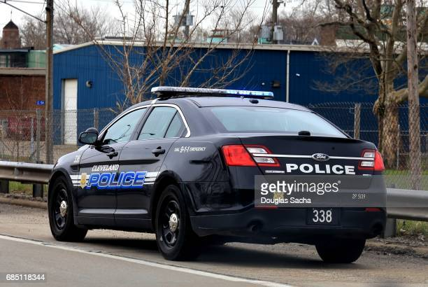 Editorial use - Police car with flashing lights