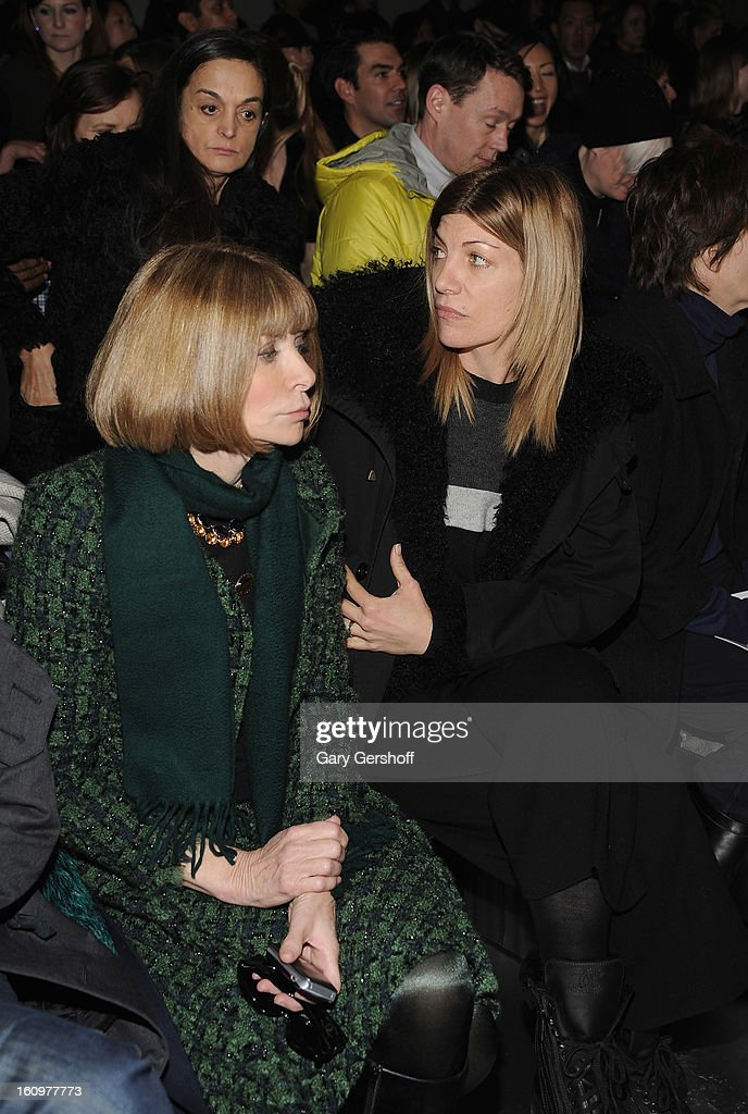 Editor-In- Chief, American Vogue magazine, <a gi-track='captionPersonalityLinkClicked' href=/galleries/search?phrase=Anna+Wintour&family=editorial&specificpeople=202210 ng-click='$event.stopPropagation()'>Anna Wintour</a> (L) and Creative Director, American Vogue magazine, <a gi-track='captionPersonalityLinkClicked' href=/galleries/search?phrase=Virginia+Smith&family=editorial&specificpeople=220533 ng-click='$event.stopPropagation()'>Virginia Smith</a> attend Jason Wu during Fall 2013 Mercedes-Benz Fashion Week on February 8, 2013 in New York City.