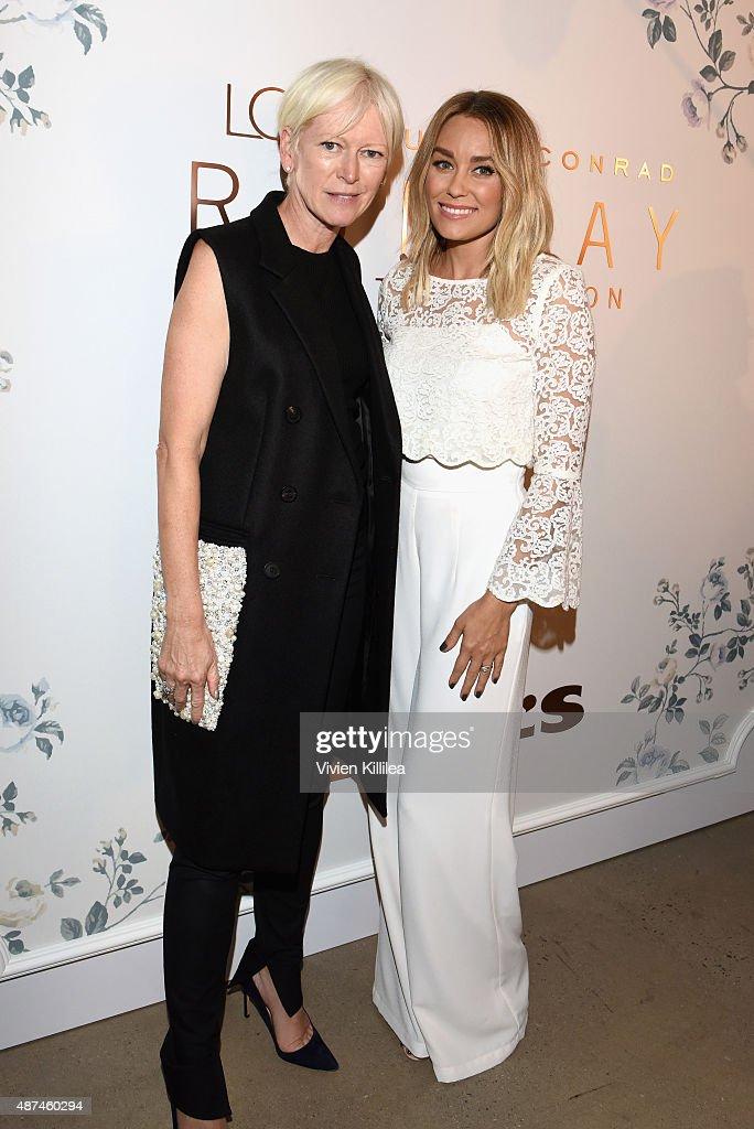 EditorinCheif of Cosmopolitan Joanna Coles and designer Lauren Conrad pose backstage at the LC Lauren Conrad fashion show during New York Fashion...
