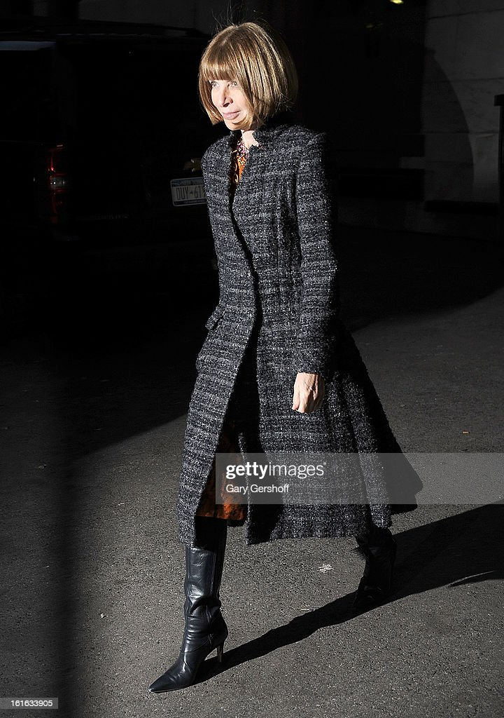 Editor-in-chief, American Vogue magazine, Anna Wintour seen leaving Marchesa during Fall 2013 Mercedes-Benz Fashion Week at New York Public Library - Celeste Bartos on February 13, 2013 in New York City.