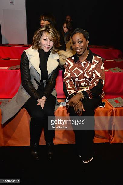 Editorinchief and vice president of brand content of the US edition of Elle Robbie Myers and recording artist Estelle attend the Diane Von...