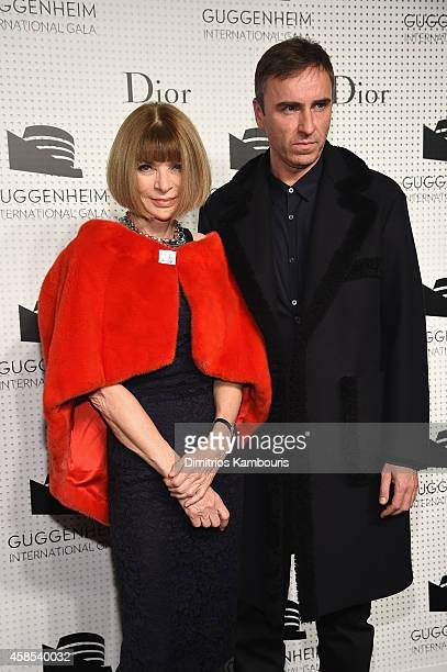 EditorinChief Anna Wintour and Dior fashion designer Zaf Simons attend the Guggenheim International Gala Dinner made possible by Dior on November 6...
