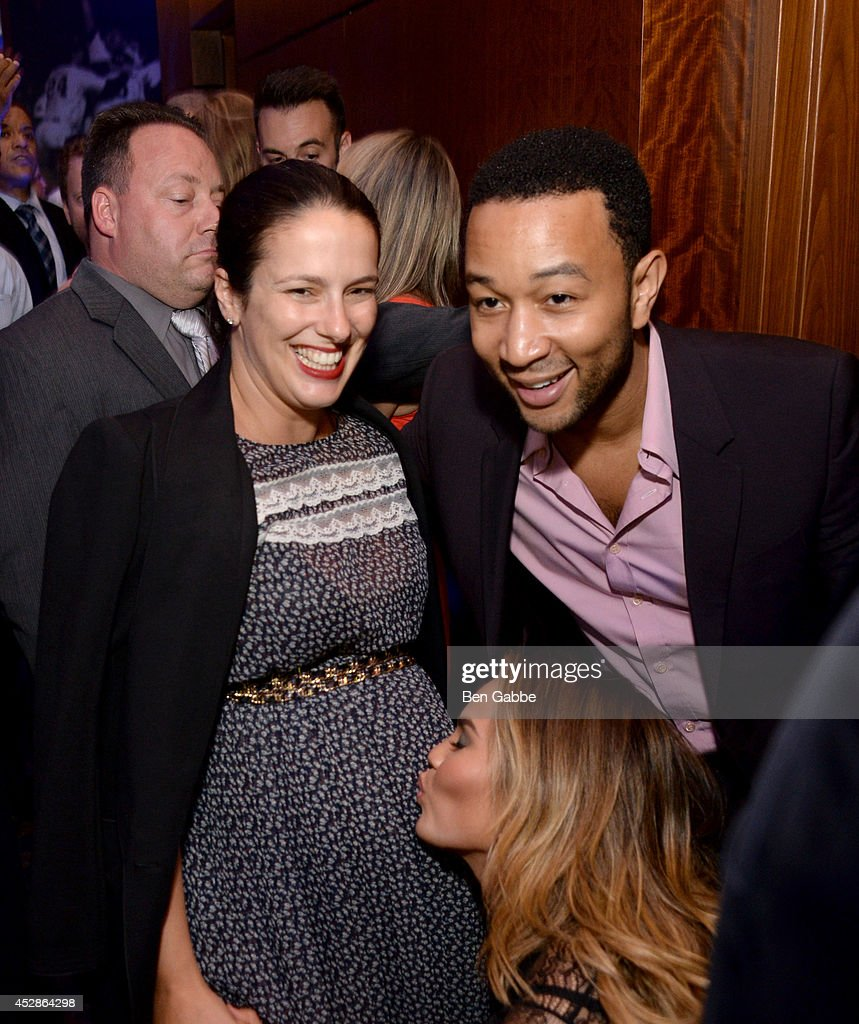 Editor-in-chief at DuJour Nicole Vecchiarelli, model Chrissy Teigen and singer-songwriter John Legend attend DuJour Magazine and NYY Steak celebrating Chrissy Teigen with FENDI timepieces and Moet Ice on July 28, 2014 in New York City.