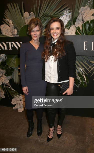 EditorinChief ELLE Robbie Myers and actress Katherine Langford attend E ELLE IMG celebration to kickoff NYFW The Shows on February 8 2017 in New York...