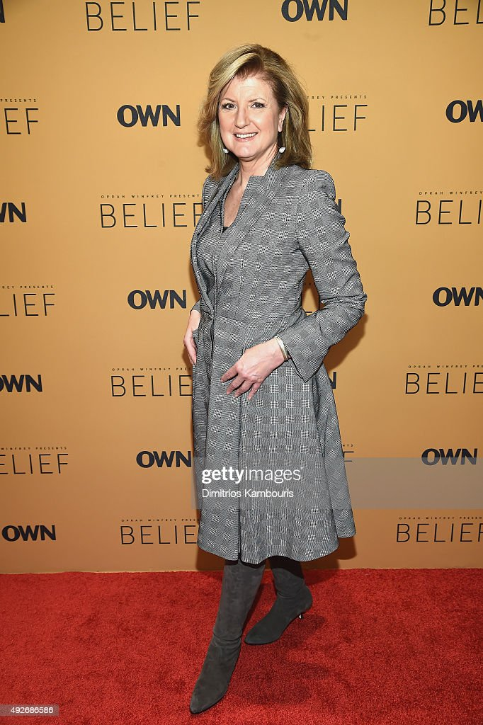Editor-In-Chief, Huffington Post <a gi-track='captionPersonalityLinkClicked' href=/galleries/search?phrase=Arianna+Huffington&family=editorial&specificpeople=204730 ng-click='$event.stopPropagation()'>Arianna Huffington</a> attends the 'Belief' New York premiere at TheTimesCenter on October 14, 2015 in New York City.