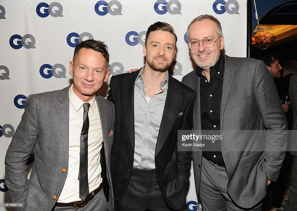 GQ editorinchief Jim Nelson GQ creative director Jim Moore and musician/actor Justin Timberlake attend the GQ Men of the Year dinner on November 11...