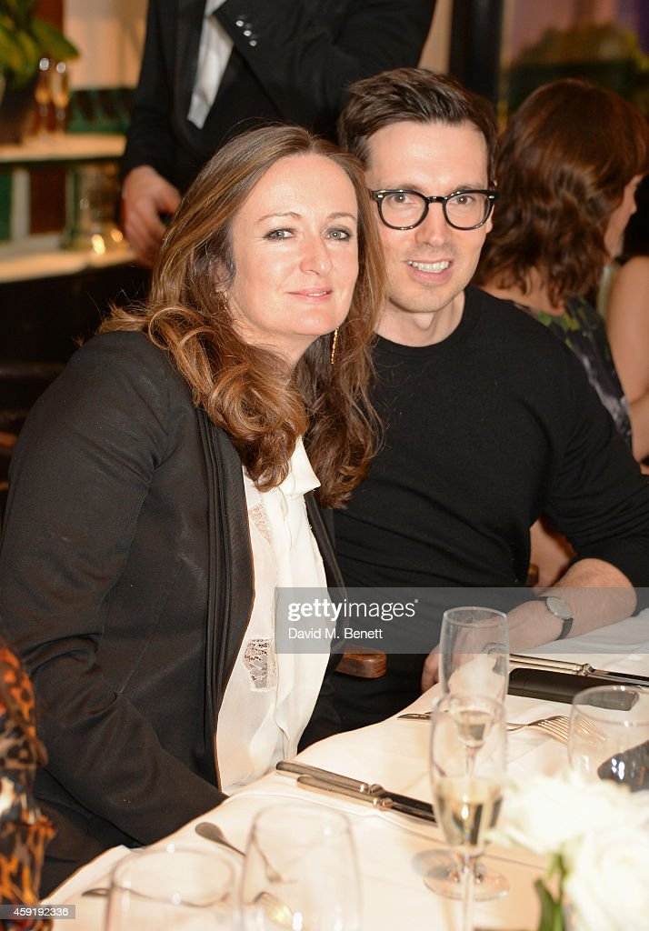 Editor-in-Chief Lucy Yeomans (L) and Christopher Kane attend a dinner hosted by PORTER in honour of cover girl Christy Turlington Burns and her charity Every Mother Counts at Mr Chow on November 18, 2014 in London, England.