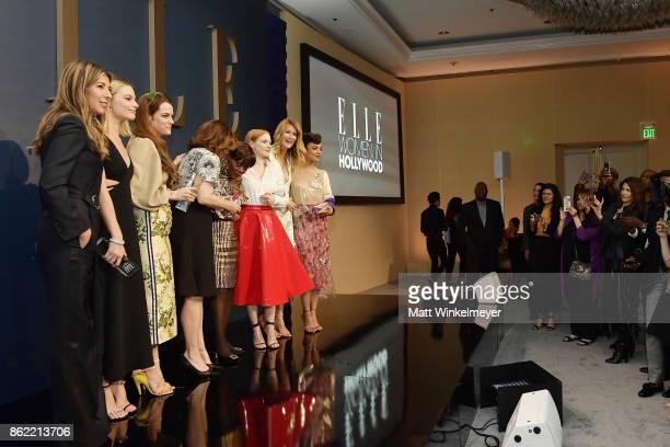 ELLE EditorinChief Nina Garcia and honorees Margot Robbie Riley Keough Kathleen Kennedy Cicely Tyson Jessica Chastain Laura Dern and Tessa Thompson...