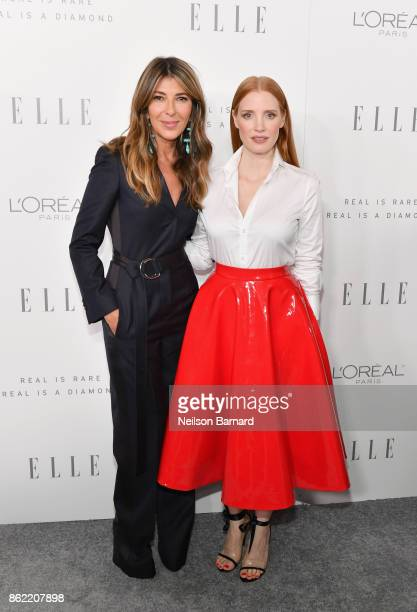 EditorinChief Nina Garcia and Jessica Chastain attend ELLE's 24th Annual Women in Hollywood Celebration presented by L'Oreal Paris Real Is Rare Real...
