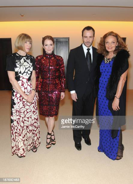 Editorinchief of American Vogue Anna Wintour actress Julianne Moore designer Tom Ford and designer Diane von Furstenberg attend CFDA and Vogue 2013...
