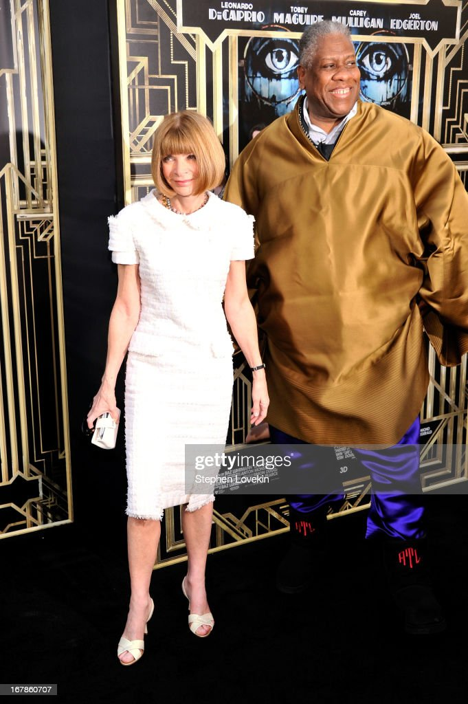 Editor-in-chief of American Vogue <a gi-track='captionPersonalityLinkClicked' href=/galleries/search?phrase=Anna+Wintour&family=editorial&specificpeople=202210 ng-click='$event.stopPropagation()'>Anna Wintour</a> and André Leon Talley attend the 'The Great Gatsby' world premiere at Avery Fisher Hall at Lincoln Center for the Performing Arts on May 1, 2013 in New York City.