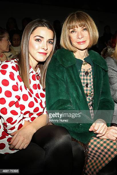 Editorinchief of American Vogue Anna Wintour and daughter Bee Shaffer attend the Public School show during MADE Fashion Week Fall 2014 at Milk...