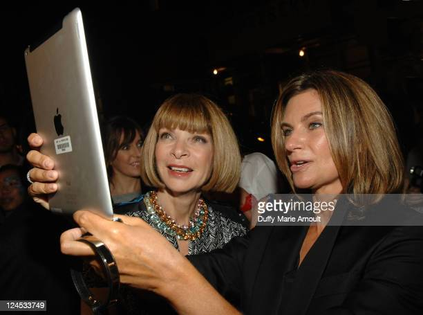 Editorinchief of American Vogue Anna Wintour and NetAPorter founder Natalie Massenet attend the NETAPORTERCOM The Window Shop event for Fashion's...