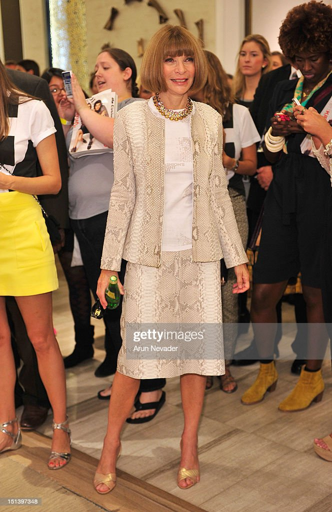Editor-in-chief of American Vogue, <a gi-track='captionPersonalityLinkClicked' href=/galleries/search?phrase=Anna+Wintour&family=editorial&specificpeople=202210 ng-click='$event.stopPropagation()'>Anna Wintour</a> attends Fashion's Night Out at Saks Fifth Avenue on September 6, 2012 in New York City.