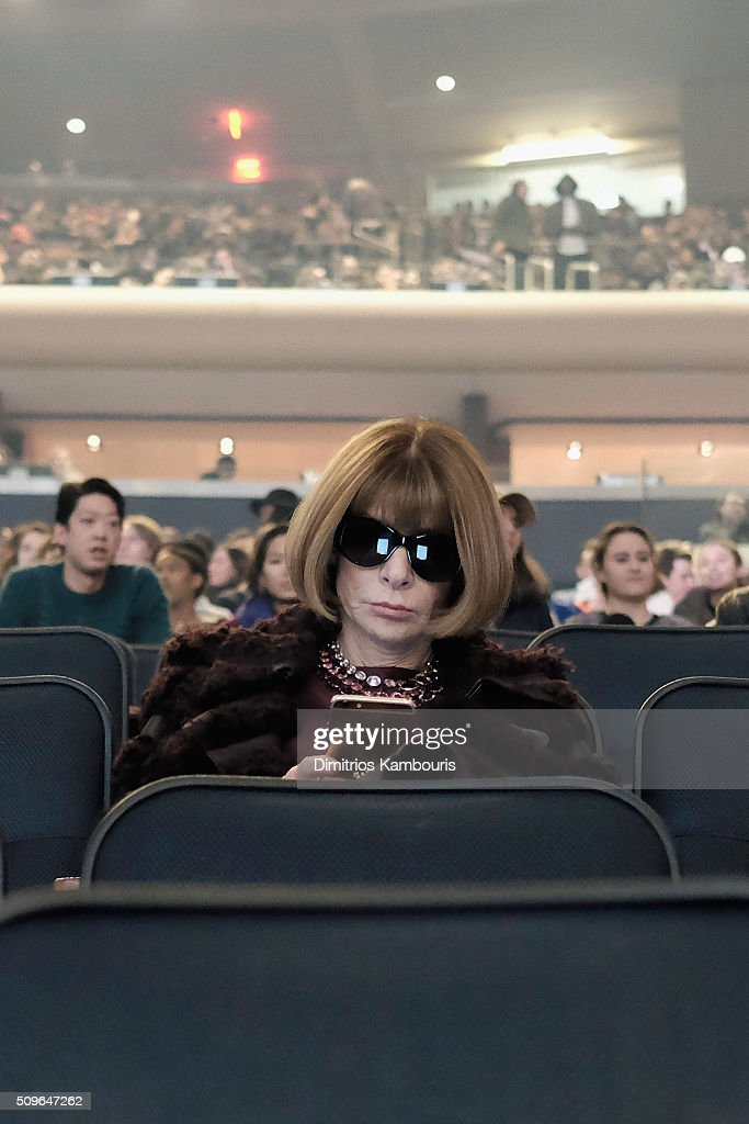 Editor-in-chief of American Vogue, <a gi-track='captionPersonalityLinkClicked' href=/galleries/search?phrase=Anna+Wintour&family=editorial&specificpeople=202210 ng-click='$event.stopPropagation()'>Anna Wintour</a> attends Kanye West Yeezy Season 3 on February 11, 2016 in New York City.