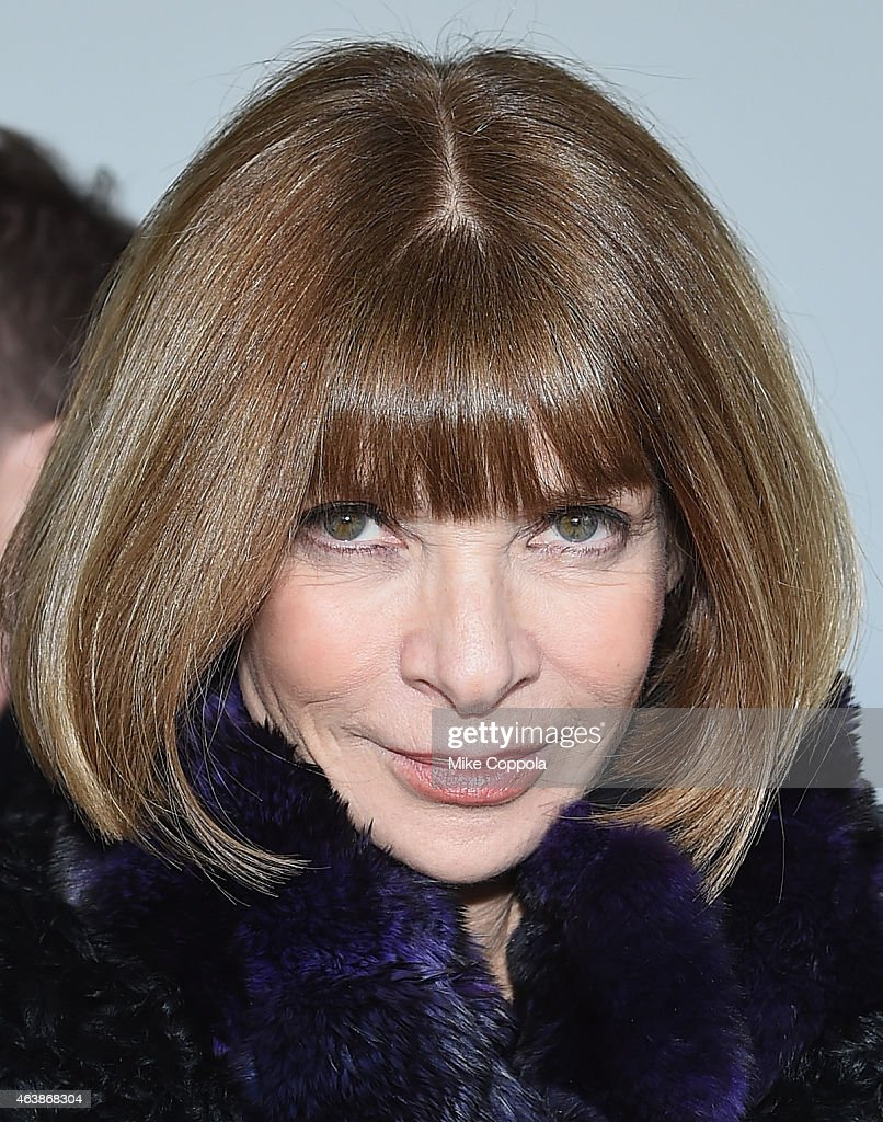 Editor-in-chief of American Vogue <a gi-track='captionPersonalityLinkClicked' href=/galleries/search?phrase=Anna+Wintour&family=editorial&specificpeople=202210 ng-click='$event.stopPropagation()'>Anna Wintour</a> attends the Calvin Klein Collection fashion show during Mercedes-Benz Fashion Week Fall 2015 at Spring Studios on February 19, 2015 in New York City.