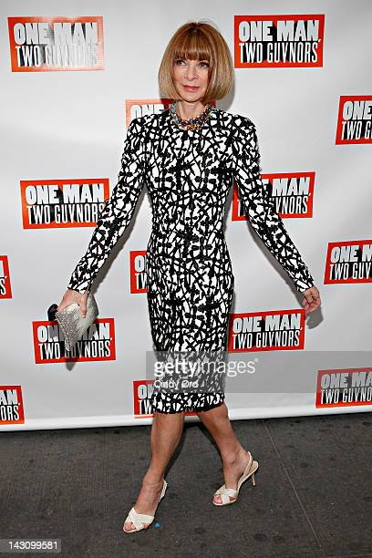 Editorinchief of American Vogue Anna Wintour attends the 'One Man Two Guvnors' Broadway opening night at the Music Box Theatre on April 18 2012 in...