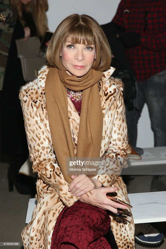 Editor-in-chief of American Vogue, <a gi-track='captionPersonalityLinkClicked' href=/galleries/search?phrase=Anna+Wintour&family=editorial&specificpeople=202210 ng-click='$event.stopPropagation()'>Anna Wintour</a> attends the Public School Fall 2016 fashion show during New York Fashion Week on February 14, 2016 in New York City.