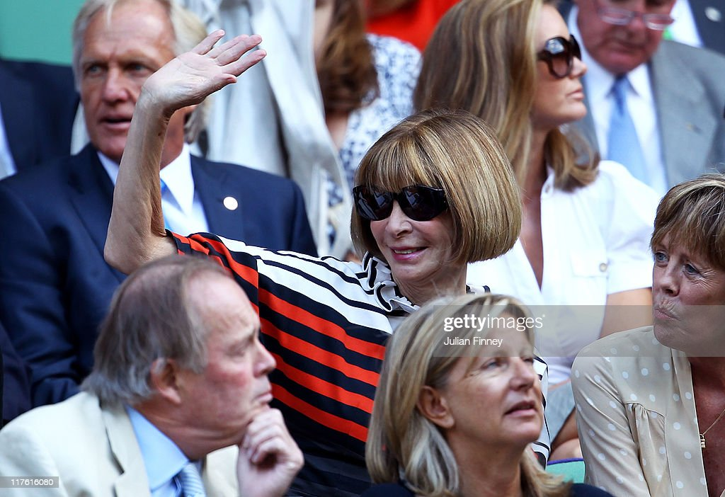 Editor-in-chief of American Vogue Anna Wintour attends the quarterfinal round match between Roger Federer of Switzerland and Jo-Wilfried Tsonga of France on Day Nine of the Wimbledon Lawn Tennis Championships at the All England Lawn Tennis and Croquet Club on June 29, 2011 in London, England.