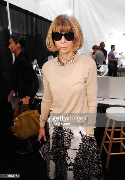 Editorinchief of American Vogue Anna Wintour poses backstage at the Derek Lam Spring 2012 fashion show during MercedesBenz Fashion Week at The Stage...