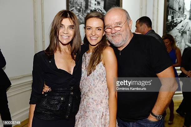 EditorinChief of CR Fashion Book Carine Roitfeld Anuschka Senge and photographer Peter Lindbergh attend the Peter Lindbergh artist reception...