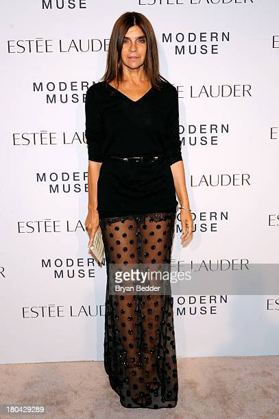 Editorinchief of CR Fashion Book Carine Roitfeld attends the Estee Lauder 'Modern Muse' Fragrance Launch Party at the Guggenheim Museum on September...