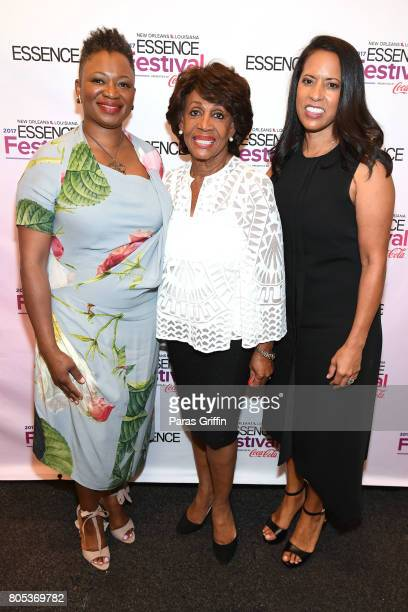 EditorinChief of ESSENCE Magazine Vanessa K De Luca Congresswoman Maxine Waters and President of Essence Communications Michelle Ebanks pose...