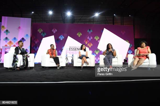 EditorinChief of ESSENCE Magazine Vanessa K De Luca Luvvie Ajayi Angela Rye April Reign and April Ryan speak onstage at the 2017 ESSENCE Festival...