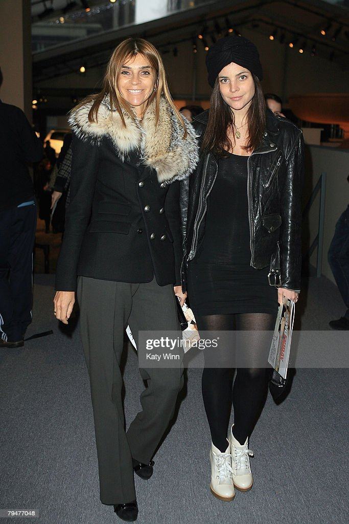Editor-in-Chief of French Vogue Carine Roitfeld and daughter Julia Restoin Roitfeld at the fashion tents in Bryant Park during Mercedes-Benz Fashion Week Fall 2008 on February 1, 2008 in New York City.