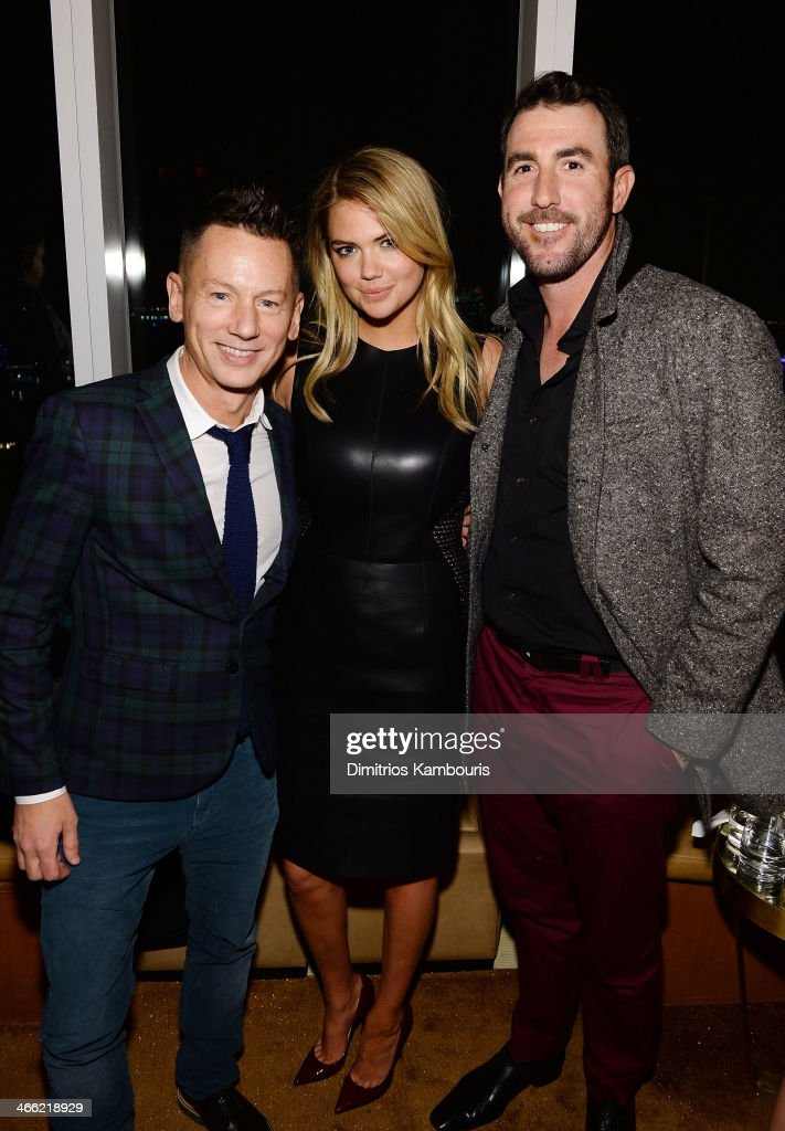 Editorinchief of GQ Jim Nelson model Kate Upton and professional baseball player Justin Verlander attend the GQ Super Bowl Party 2014 sponsored by...