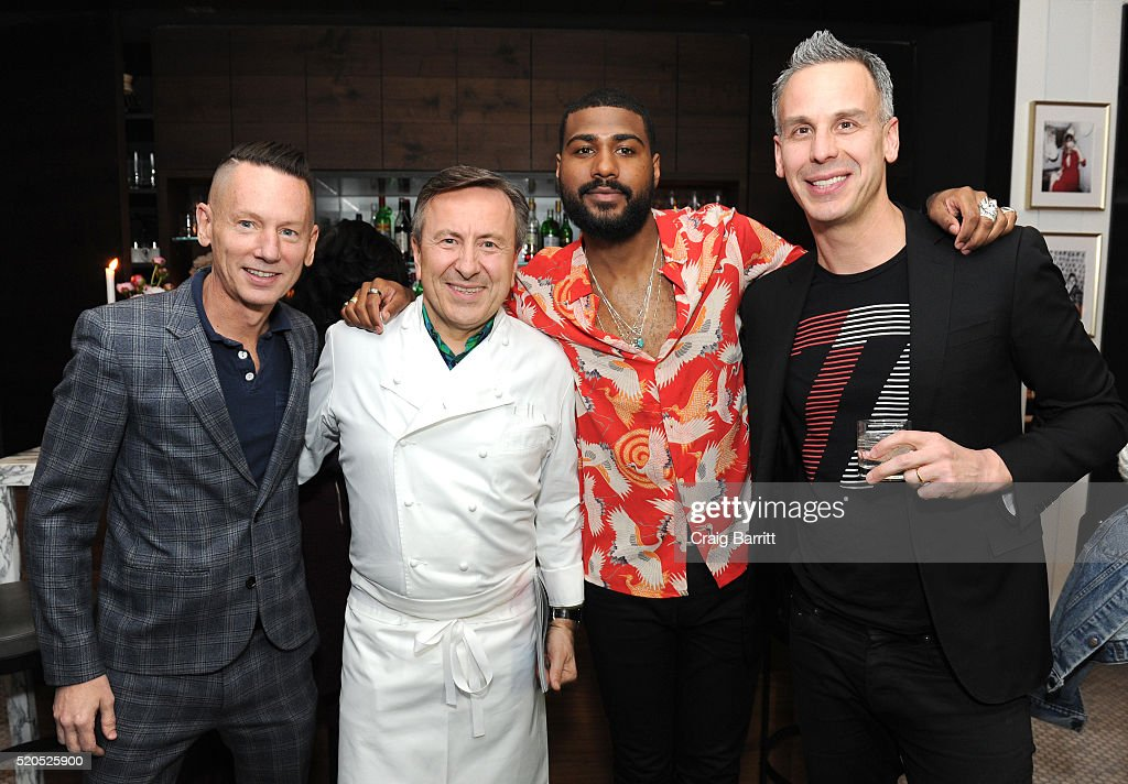 GQ EditorinChief of Jim Nelson Chef Daniel Boulud GQ Style Guy Mark Anthony Green and EditorinChief of Bon Appetit Adam Rapoport attend as Bon...
