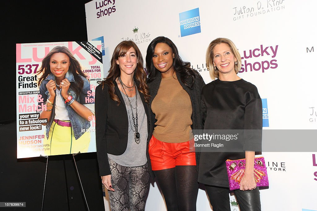 Editor-In-Chief of Lucky Magazine Marcy Bloom, recording artist <a gi-track='captionPersonalityLinkClicked' href=/galleries/search?phrase=Jennifer+Hudson&family=editorial&specificpeople=234833 ng-click='$event.stopPropagation()'>Jennifer Hudson</a> and Editor-In-Chief of Lucky Magazine <a gi-track='captionPersonalityLinkClicked' href=/galleries/search?phrase=Brandon+Holley&family=editorial&specificpeople=753368 ng-click='$event.stopPropagation()'>Brandon Holley</a> attend the 9th Annual Lucky Shops Event at 82 Mercer on December 6, 2012 in New York City.