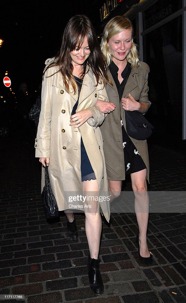 Editor-in-Chief of Lula Magazine Leith Clark and actress <a gi-track='captionPersonalityLinkClicked' href=/galleries/search?phrase=Kirsten+Dunst&family=editorial&specificpeople=171590 ng-click='$event.stopPropagation()'>Kirsten Dunst</a> seen arriving at The Box Night Club on June 22, 2011 in London, England.