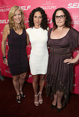 EditorinChief of Self Magazine Lucy Danziger Yoga instructor/author Mandy Ingber and actress Ricki Lake attend SELF Magazine and Jennifer Aniston's...
